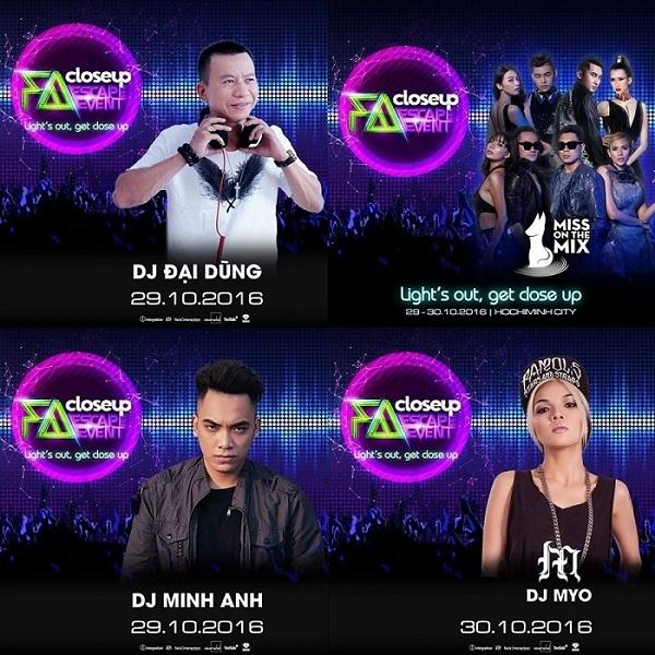 DJ Đại Dũng, DJ Minh Anh, DJ Myo, và nhóm DJ đến từ Miss on the mix cũng có mặt để khuấy động Closeup FA Escape. - Tin sao Viet - Tin tuc sao Viet - Scandal sao Viet - Tin tuc cua Sao - Tin cua Sao