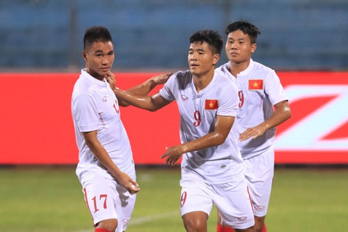 Niềm vui các cầu thủ U19 Việt Nam khi đánh bại U19 Bahrain để có mặt ở World Cup U20 thế giới. Ảnh: Internet.