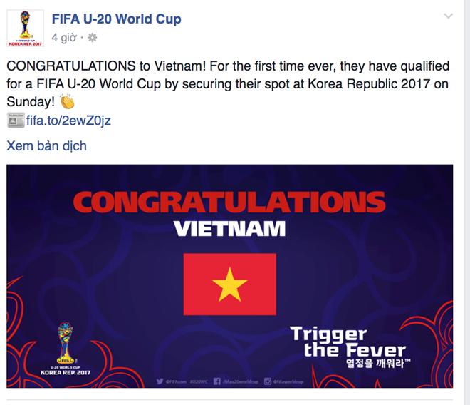 FIFA đăng hình ảnh chúc mừng U19 Việt Nam.