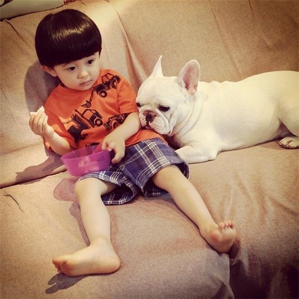 Vì sống chung với nhau từ nhỏ nên cậu nhóc đầu nấm cùng chú chó thân hình hạt mít của mình luôn quấn quít nhau như hình với bóng.