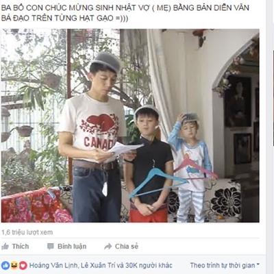 Trong clip là anh Lê Xuân Trí và hai con trai: Lê Hoàng Bảo Thiên và Lê Hoàng Bảo Vì.