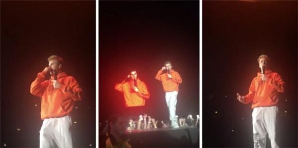 Trong buổi biểu diễn ở Manchester, Justin Bieberyêu cầu các fan giữ yên lặng để anh có thể nói chuyện với họ.(Ảnh chụp màn hình)