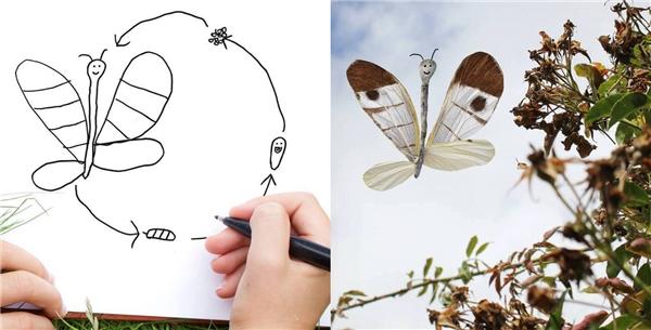 """Trông chú bướm có vẻ """"có hồn"""" hơn gấp bội lần nhờ kĩ năng """"múa chuột thần sầu"""" của ông bố."""