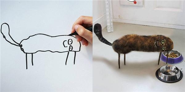 """Bé chỉ định vẽ con """"mèo bành"""" trong nhà, không ngờ lại trông kì dị thế này đây."""