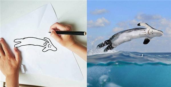 Bé vẽ cá voi đó nhé, mọi người đừng hiểu nhầm.