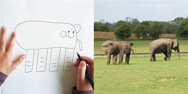"""Tuy có hơi khác lạ nhưng chú voi này trông đáng yêu phết khi được""""hiện thực hóa""""."""