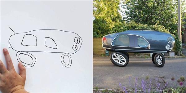 """Thật ra bé Dom chỉ tính vẽ chơi thế thôi, không ngờ lại thành """"siêu xe"""" đẹp thế này."""