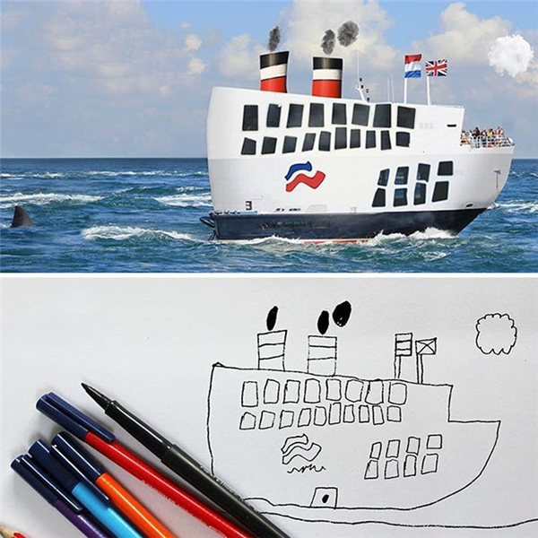 Lại còn cả tàu to hơn Titanic nữa nè.