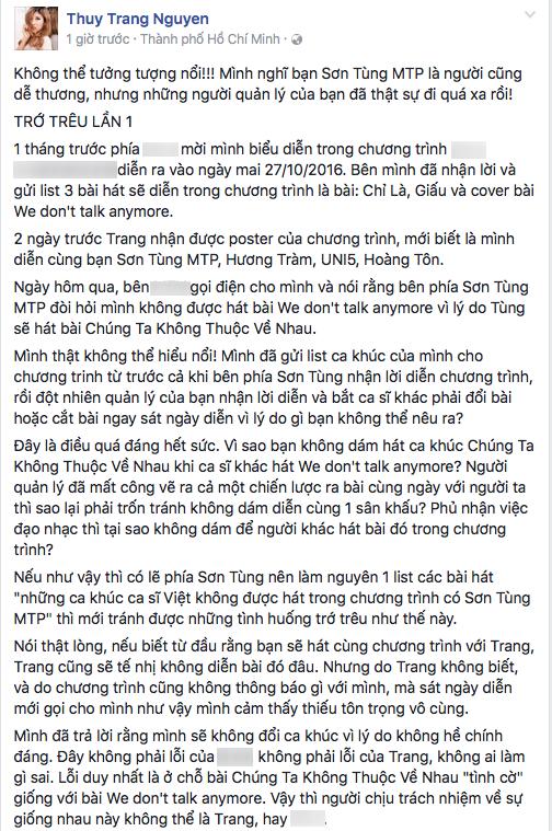 Phía Sơn Tùng đưa yêu cầu vô lí, Trang Pháp bức xúc viết tâm thư - Tin sao Viet - Tin tuc sao Viet - Scandal sao Viet - Tin tuc cua Sao - Tin cua Sao