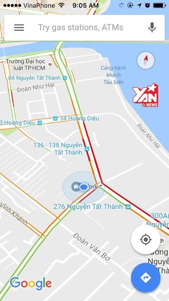 Mật độ giao thông ở vị trí hiện tại.