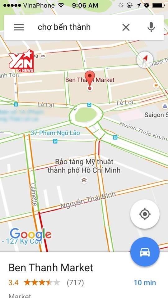 Mật độ giao thông khu vựcChợ Bến Thành.