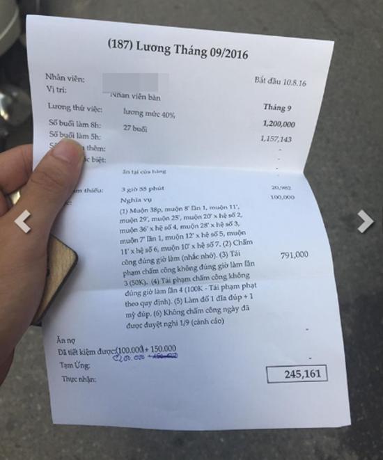 Bảng kê chi tiết lương của bạnP.G.Lvào tháng 9.(Ảnh: Internet)