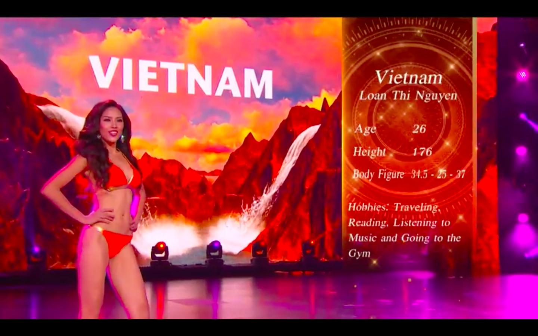 Đến với phần thi bikini, top 20 cùng đọ dáng cùng kĩ năng trình diễn trong những thiết kế với sắc đỏ rực rỡ. Đại diện Việt Nam được đánh giá là thí sinh có kĩ năng trình diễn và chỉ số hình thể nổi bật nhất Miss Grand International 2016.