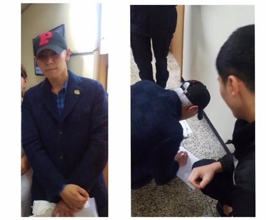 T.O.P trong buổi chờ đăng kí đã kí tặng cho người hâm mộ.