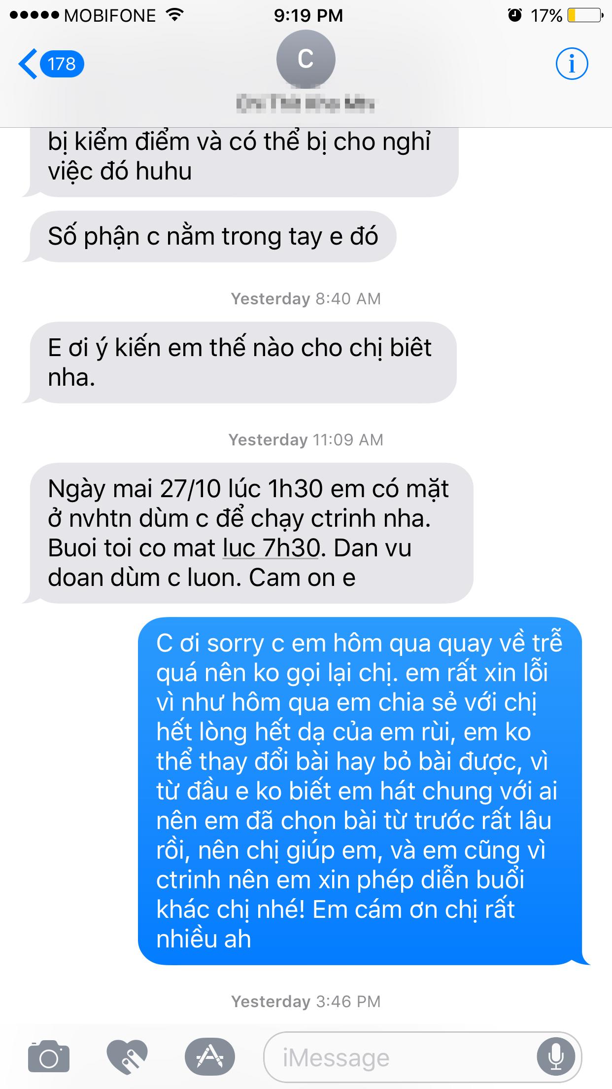 Đoạn tin nhắn giữa Trang Pháp và người trong BTC đã mờitham dự trong chương trình năn nỉ cô đổi một ca khúc đã đăng kí từ trước. - Tin sao Viet - Tin tuc sao Viet - Scandal sao Viet - Tin tuc cua Sao - Tin cua Sao