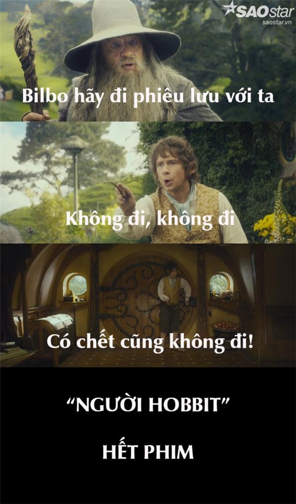 Theo nguyên tác, ban đầu Bilbo không đồng ý trước chuyến phiêu lưu này, sau đó đổi ý tham gia. Nhưng liệu ông có biết, nếu ngày ấy ông kiên quyết không đi thì có lẽ bạn đã xem xong Người Hobbit 1, Người Hobbit 2, Người Hobbit 3, Chúa tể những chiếc nhẫn 1, Chúa tể những chiếc nhẫn 2, Chúa tể những chiếc nhẫn 3chỉ trong vòng 1 nốt nhạc?