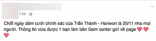 Thông tin về đám cưới của Hari - Trấn Thành trên một fanpage khiến nhiều người tò mò - Tin sao Viet - Tin tuc sao Viet - Scandal sao Viet - Tin tuc cua Sao - Tin cua Sao