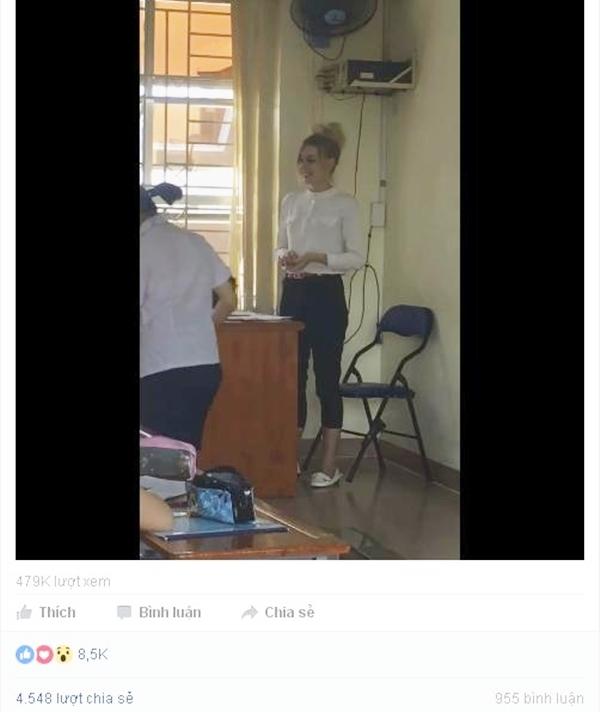 Hình ảnh cô giáo trong đoạn clip thu hút đông đảo sự chú ý từ dân mạng. (Ảnh: Chụp màn hình)