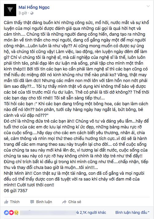 Chia sẻ của Đông Nhi trên trang cá nhân về những ý kiến tiêu cực, trái chiều của cư dân mạng về phần biểu diễn của Nhật Minh trong đêm liveshow 6 vừa qua. - Tin sao Viet - Tin tuc sao Viet - Scandal sao Viet - Tin tuc cua Sao - Tin cua Sao