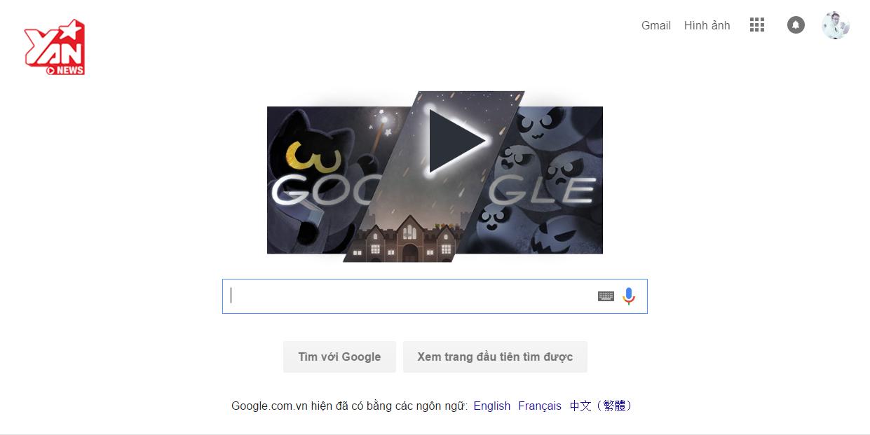 """Chỉ cần vào trang chủ Google là có thể chơi được game """"pháp sư mèo diệt ma""""."""