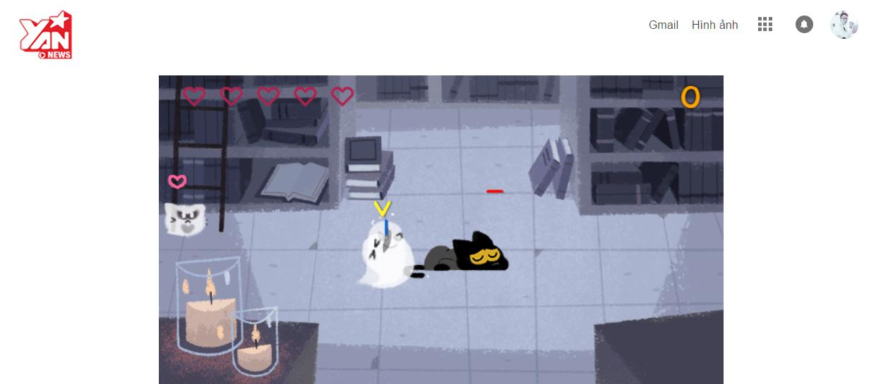 """Để những con ma chạm vào người thì mèo Momo sẽ bị mất máu, hết 5 mạng sẽ """"game over""""."""