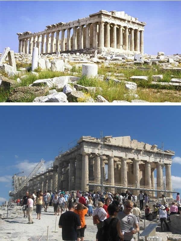 Thành phố cổ Athens phải trùng tu vì bị xuống cấp theo thời gian. (Ảnh: 9GAG)