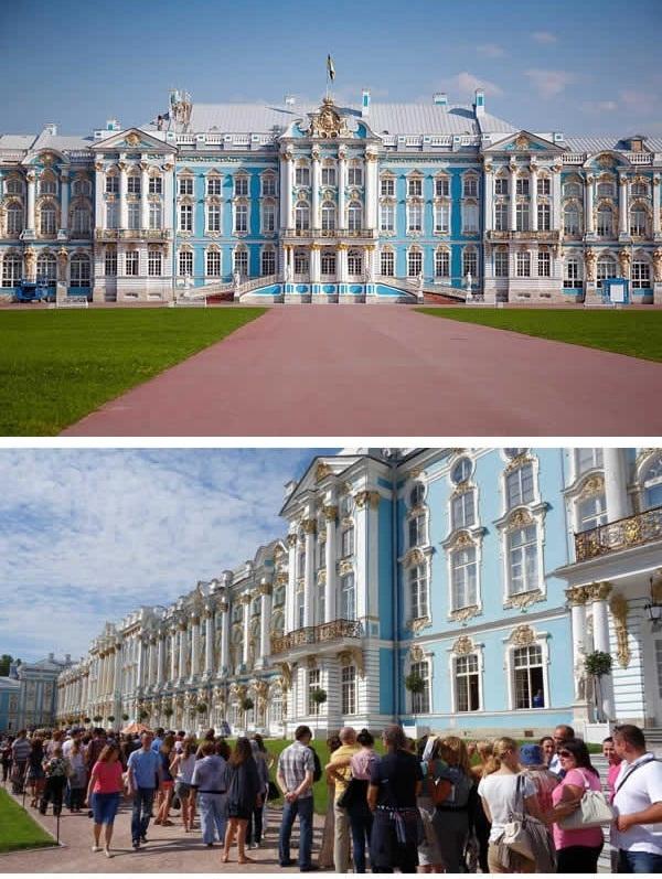 """Dòng người """"khủng khiếp"""" trước lâu đài Catherine ở Nga. (Ảnh: 9GAG)"""