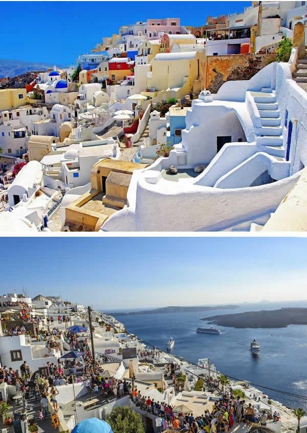 Santorini vắng vẻ, trong xanh đâu không thấy, chỉ toàn người là người... (Ảnh: 9GAG)