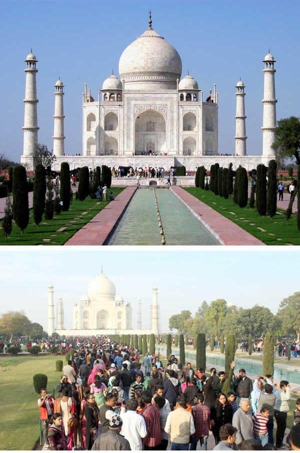 Đền Taj Mahal ở Ấn Độ cũng chịu chung số phận. (Ảnh: 9GAG)