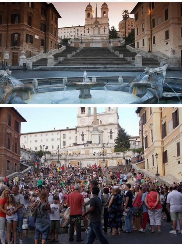 Spanish Steps ở Ý luôn đông như trẩy hội. (Ảnh: 9GAG)