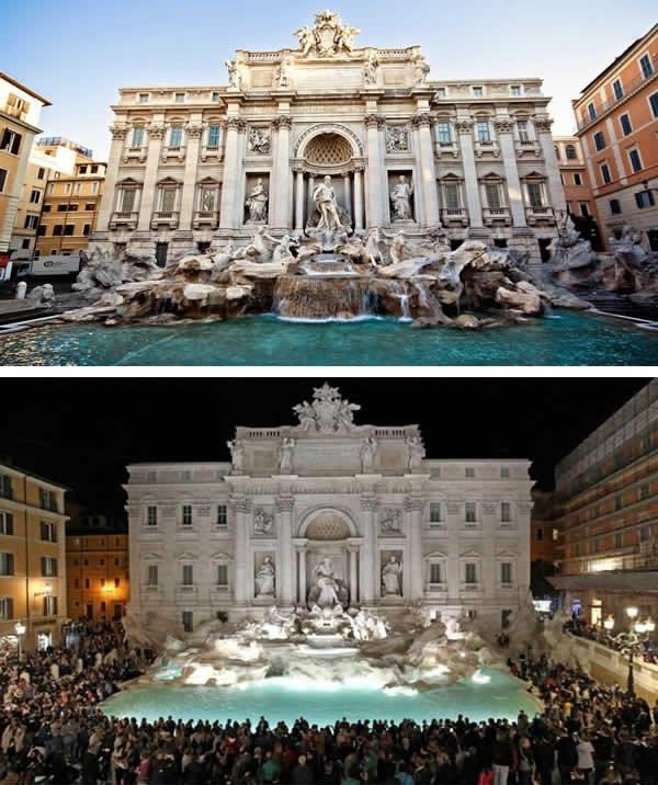 Thác nước Trevi ở Ý... (Ảnh: 9GAG)