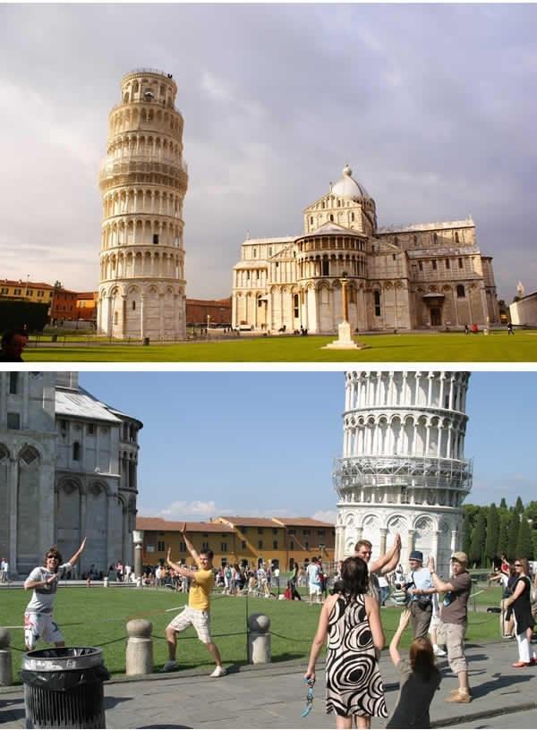 """Cứ đến tháp nghiêng Pisa là mọi người đua nhau """"xô"""" tháp. (Ảnh: 9GAG)"""