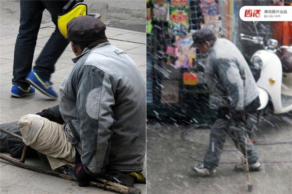 Ngày 07/02/2013 tại Nam Thông, Giang Tô, một người đàn ông giả cụt chân quỳ mọp xuống đường để ăn xin. Thế nhưng khi tuyết bất ngờ rơi, ngày càng dày đặc, ông ta đã không chịu nổi cái lạnh bèn đứng dậy bỏ đi như chưa từng cụt chân bao giờ.