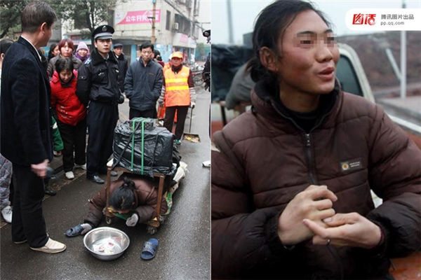 """Ngày 27/01/2010 tại Chu Châu, Hồ Nam, người đàn ông này trong khi đang đẩy xe lăn để đi ăn xin thì bị người dân vây lại tra hỏi vì thấy anh ta """"diễn"""" quá dở. Khi bị dọa đưa đi bệnh viện, """"nam diễn viên"""" liền chui ra khỏi xe, nhưng vẫn khăng khăng rằng mình đau bụng."""