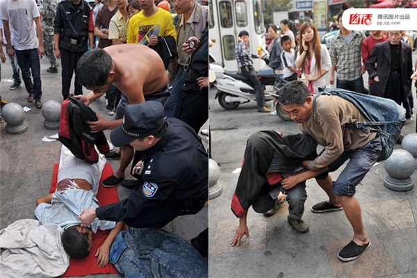 """Ngày 23/10/2011 tại Kim Hoa, Chiết Giang, một người đàn ông quỳ gối van xin trên đường bên cạnh một người nằm phủ khăn bất động, nói là mẹ mình, đang vật vã vì khối u. Khi người đi đường đề nghị chuyển vào bệnh viện, ông ta từ chối. Đến khi cảnh sát tới lật khăn lên mới phát hiện """"người mẹ"""" này thực ra là một ông già 50 tuổi, còn khối u là một miếng thịt lợn đắp vào."""