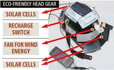 Chiếc mũ bảo hiểm được trang bị nguồn pin năng lượng Mặt Trời cùng với chiếc quạt nhỏ hấp thu năng lượng gió.