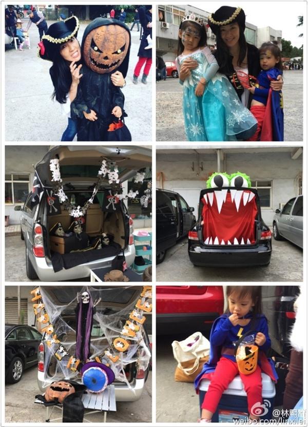 Đo độ chuẩn bị công phu cho ngày Halloween chắc không ai qua kịp gia đình nhà Lâm Hy Lôi.