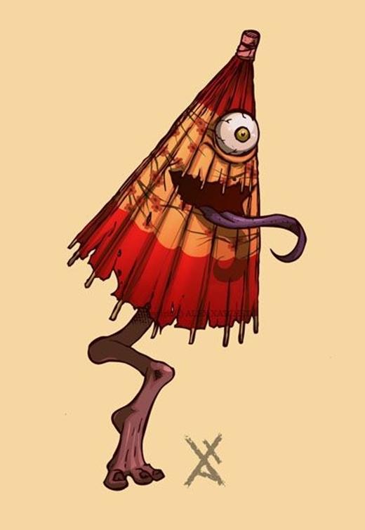 Kasa-obake có hình thể nổi bật, khi mọi thứ trên cơ thể chúng đều là độc nhất: một mắt, một miệng, một lưỡi, một chân.