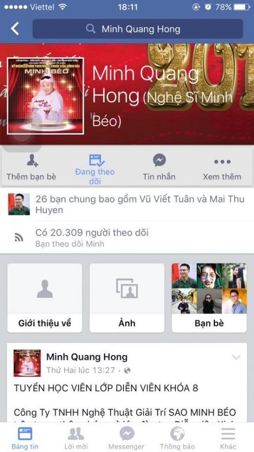 Trang cá nhân của diễn viên Minh Béo mở lại với thông tin tuyển sinh diễn viên. - Tin sao Viet - Tin tuc sao Viet - Scandal sao Viet - Tin tuc cua Sao - Tin cua Sao