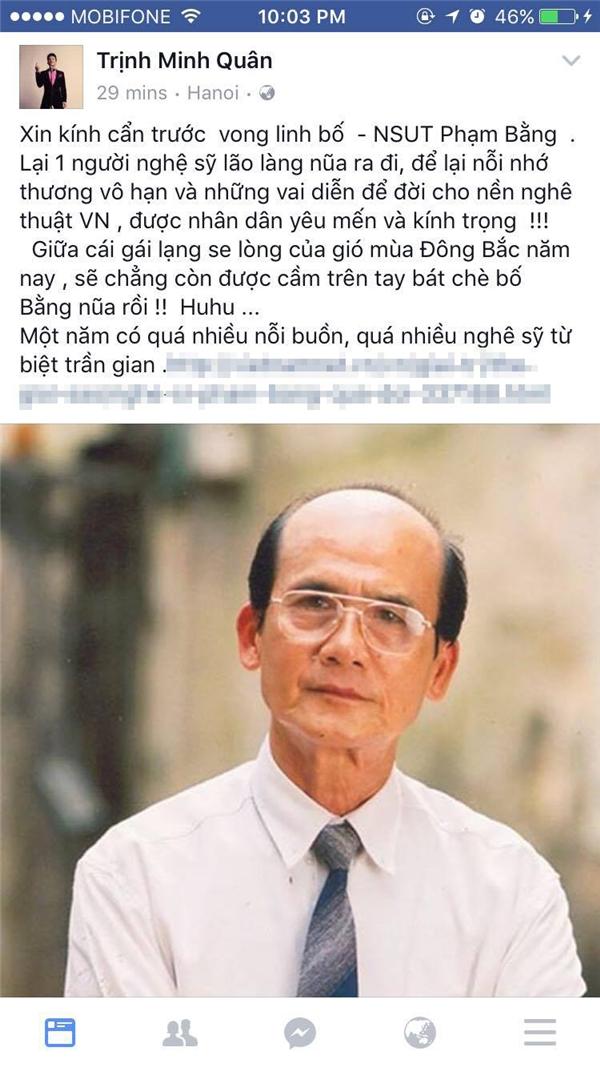Trên trang cá nhân của mình, ca sĩ Minh Quân cũng bày tỏ nỗi buồn và sự thương tiếc trước biến cố quá bất ngờ vớigia đình NSƯT Phạm Bằng. - Tin sao Viet - Tin tuc sao Viet - Scandal sao Viet - Tin tuc cua Sao - Tin cua Sao