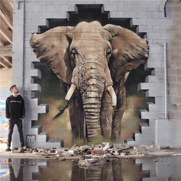 Chú voi từ bức tường tại Anderlecht, Bỉ. (Ảnh: Internet)