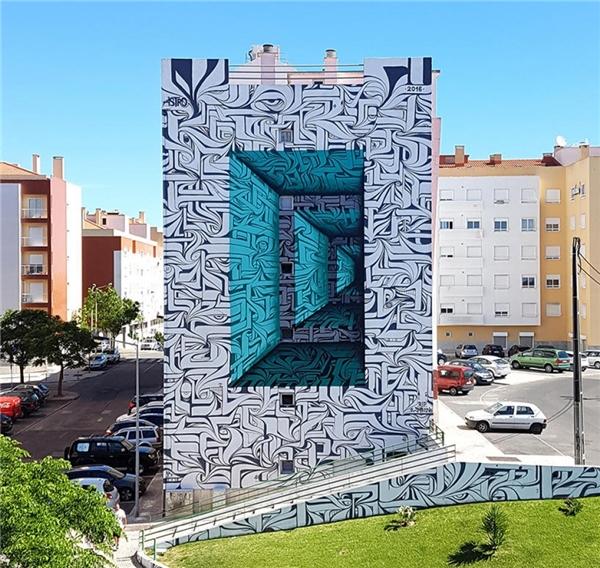 Một bức tường ở Thụy Sĩ với bức tranh 3D như thật. (Ảnh: Internet)