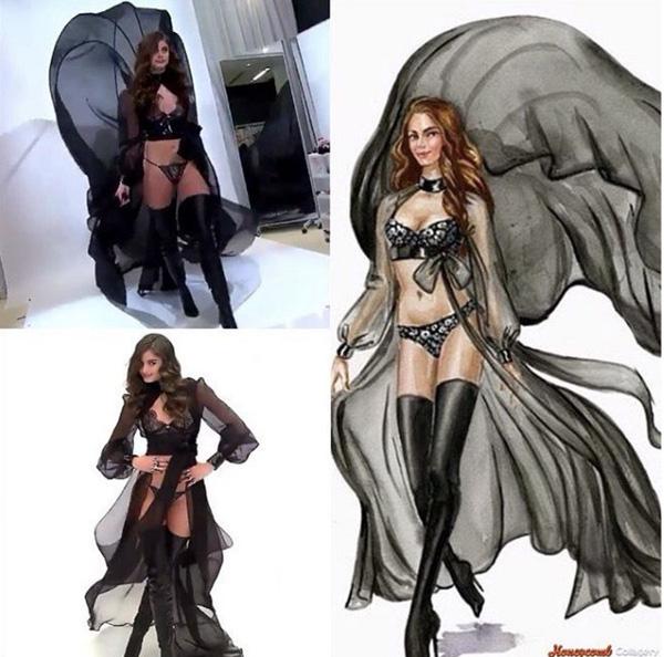 Sara, Taylor Hill diện hai thiết kế màu đen lần lượt thuộc 2 bộ sưu tập Secret Angels và Dark Angels.