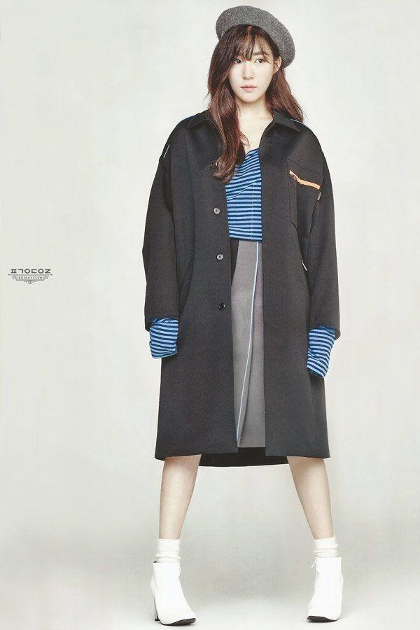 Tiffany (SNSD) cực thời thượng với trench coat, mũ nồi và tóc xoăn nhẹ.