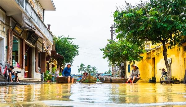 Nước ngấp nghé phố cổ Hội An.