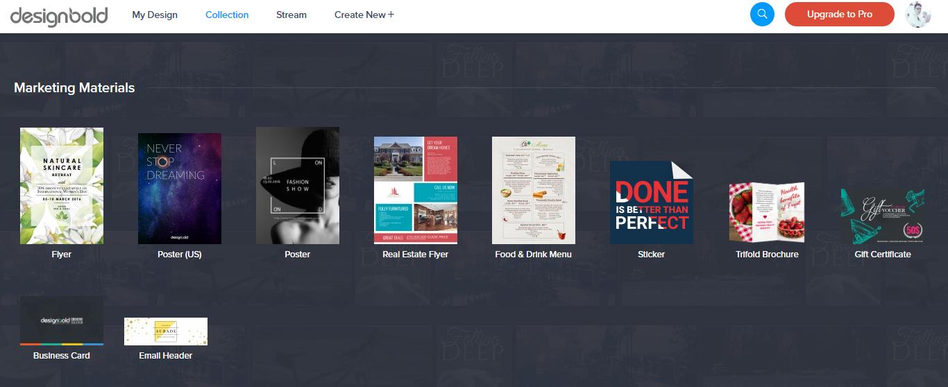 DesignBold có rất nhiều mẫu thiết kế có sẵn với từng chủ đề cụ thể. (Ảnh chụp màn hình)