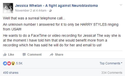 Những chia sẻ của bố cô bé trên mạng xã hội về việc Harry gọi điện. Anh hứa sẽ ghi video và gửi cho Jessica.