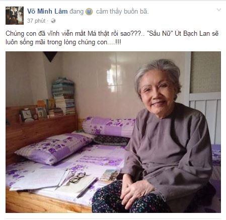 """Trên trang cá nhân của mình, nghệ sĩ Võ Minh Lâm khiến người hâm mộ thêm phần xót xa khi nói: """"Con đã vĩnh viễn mất má thật rồi sao?"""". - Tin sao Viet - Tin tuc sao Viet - Scandal sao Viet - Tin tuc cua Sao - Tin cua Sao"""