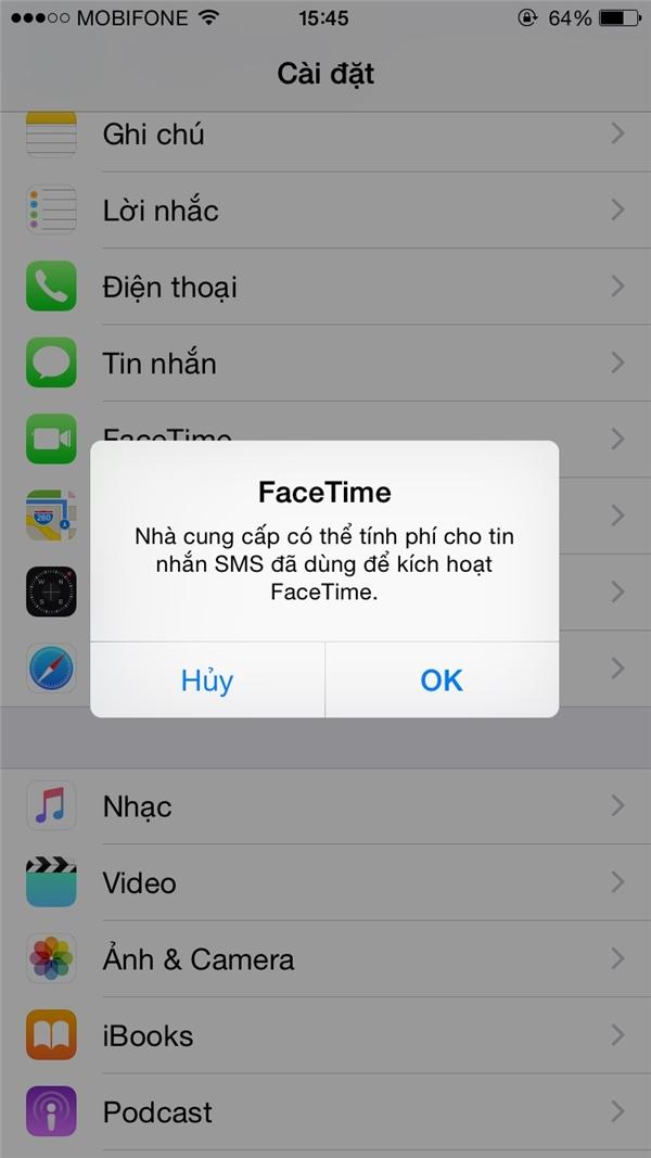 Chỉ hiển thị tin nhắn trừ tiền lần đầu tiên lần kích hoạt iMessage và Facetime, những lần sau vẫn tiếp tục trừ nhưng không hiển thị. (Ảnh: internet)