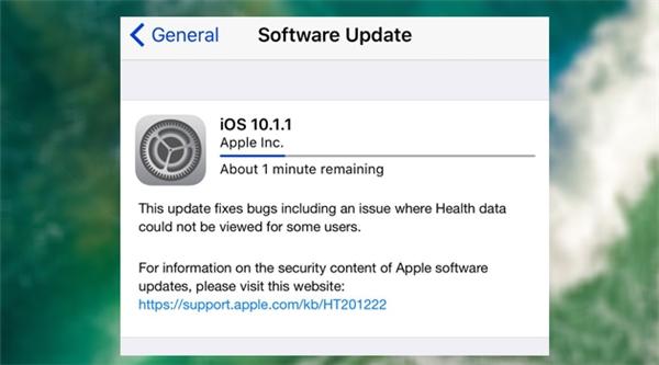 iOS 10.1.1 đang là phiên bản iOS mới nhất hiện nay. (Ảnh: internet)